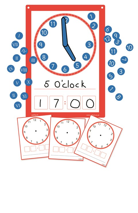 Magnetic Multiboard Clock and Dry Wipe Clock Faces