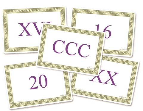 Double Sided Roman Numeral Cards