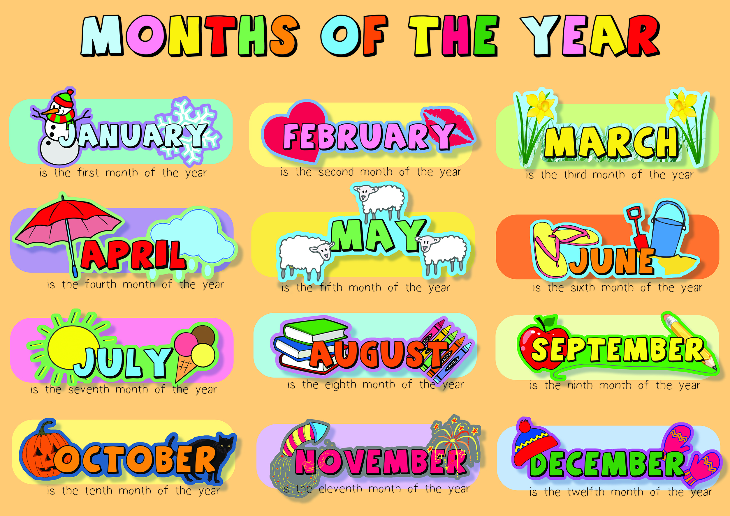 months of the year poster spaceright europe ltd