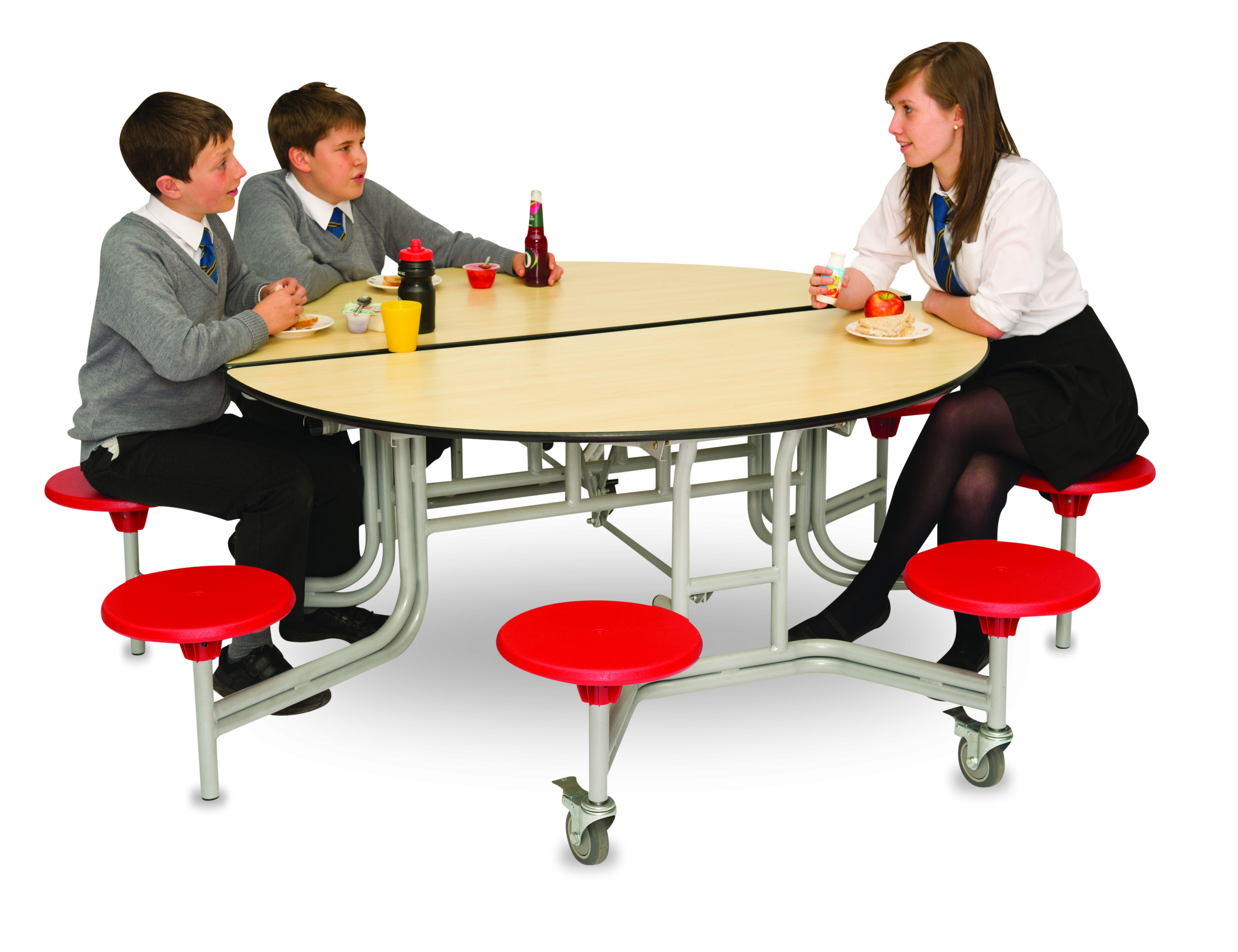 Round Mobile Folding Table with 8 Seats