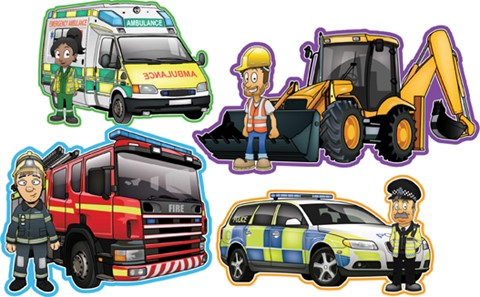 Workers and Vehicles Set of 4