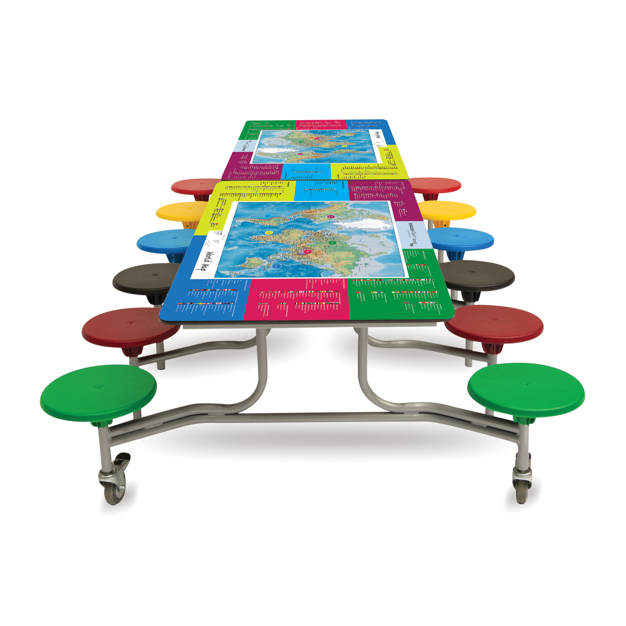 World Map Smart Top Rectangular Table (12 Seat Unit)