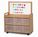 Mobile Tall Unit with Display and Top Divider W/ Magnetic Whiteboard Add-on