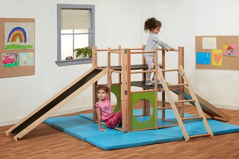 Indoor Climbing Frame with Ramp and Safety Mats